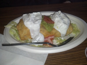 Mom will have to vouch for their chimichanga. \it must be good she has been eating this at Senor Froggies for years. It looks mighty tempting.