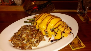 Believe it or not, there is a heavenly slamon eggs benedict buried in there. And it is a three- or four-manner