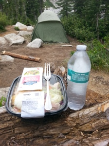 Even when I went on an overnight backpacking trip, I stuck to my game plan and only ate one salad that I packed in on ice. A person gets hungrier than normal camping and so this rather wimpy Winco salad tasted like manna from heaven, which was much closer than normal at the altitude of 6,200 ft on Harrison lake at the head of the Pack River in Idaho.